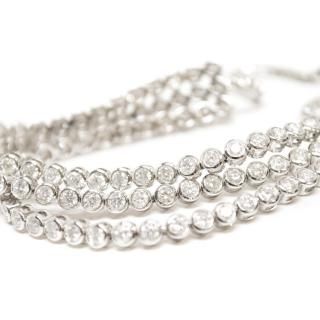 Bespoke White Gold Triple Row Diamond Tennis Bracelet