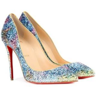 Christian Louboutin Pigalle Follies in Aqua Glitter