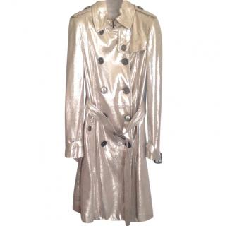 Burberry silver metallic leather trench coat