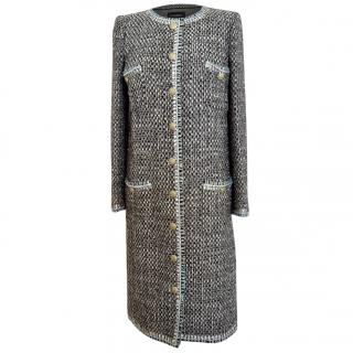 Chanel black blue tweed wool coat