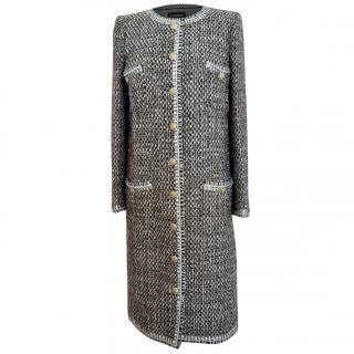Chanel black blue tweed wool coat