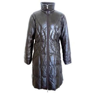 Moncler dark brown leather puffer coat