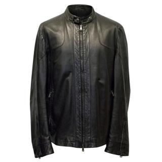 Hugo Boss Mens Black Leather Jacket