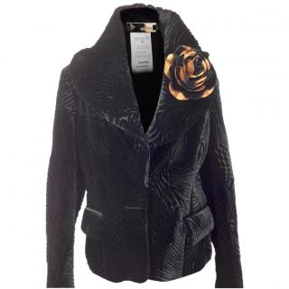 Gianni Versace Velvet and Lace Back One Button Waisted Vest