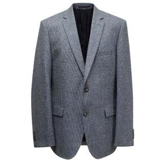 Hugo Boss Blue Houndstooth Wool Blazer