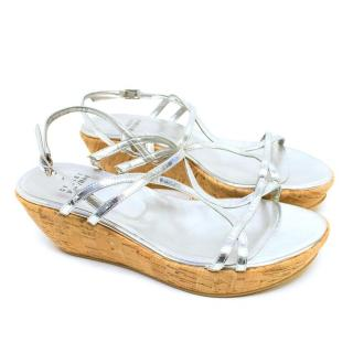 Stuart Weitzman Silver Strappy Sandals with Cork Wedge