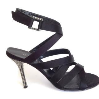 Black Satin Strappy Sandals