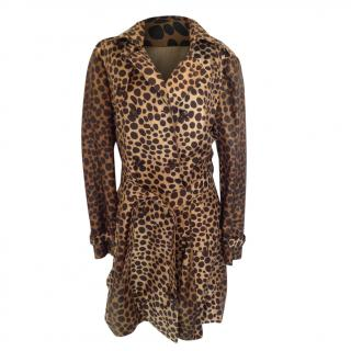 Moschino Cheap and Chic Animal Print Silk Balloon Trench Coat