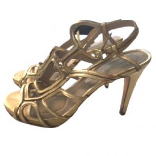 DVF Gold evening heels