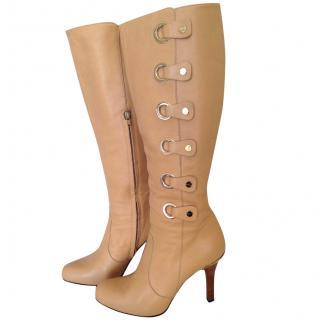 Versace light ochre knee boots