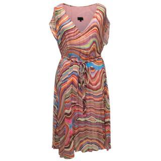 Paul Smith Signature Print Striped Chiffon Dress