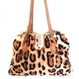 Ermano Scervino leopard print fur shoulder bag