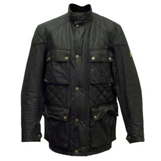Belstaff Black Waxed Quilted Bomber Jacket