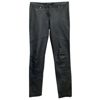 Armani Jeans Black Leather Trousers