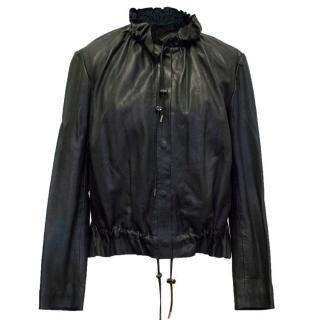 Maje Black Leather Frill Neck Jacket