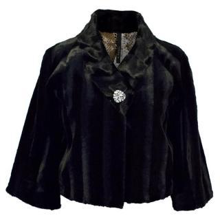 Poleci Black Faux Sheared Mink Cropped Jacket