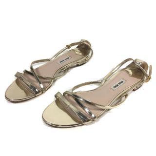 MIU MIU gold metallic sandals Flats Crystal heels