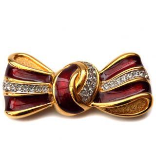 LANVIN Vintage Red Bow Brooch.