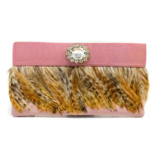 Ivana Ma. Pink Feathered Clutch Bag with Crystal