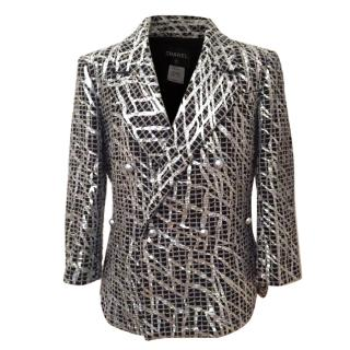 Chanel Silver Painted Jacket 42