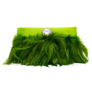 Ivana Ma. Green Feathered Clutch Bag with Crystal