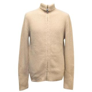 Richard James Beige Thick Knitted Zipped Jumper