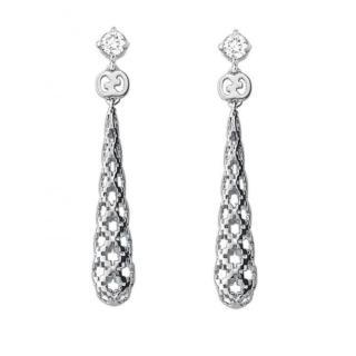 Gucci 18ct White Gold Diamantissima Diamond Drop Earrings