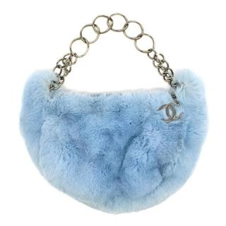 Chanel Powder Blue Rabbit Fur Handbag