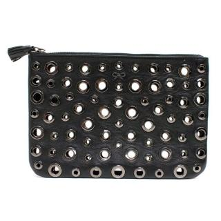 Anya Hindmarch Black Metallic Leather Eyelet Clutch