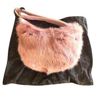 Gucci pink fur clutch