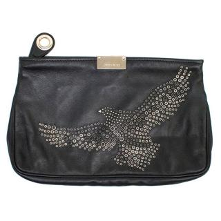 Jimmy Choo Black Leather Clutch with Eagle Embellished