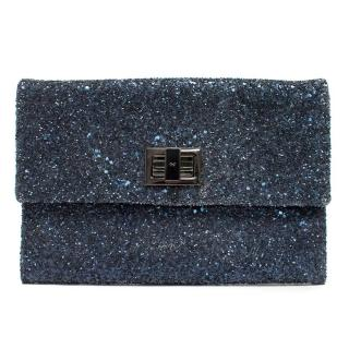 Anya Hindmarch Navy Blue Glitter Valorie Clutch Bag