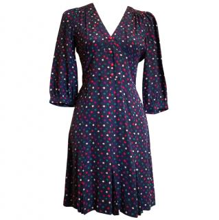 Marc by Marc Jacobs 100% Silk Navy & Multicolour Pattern Dress