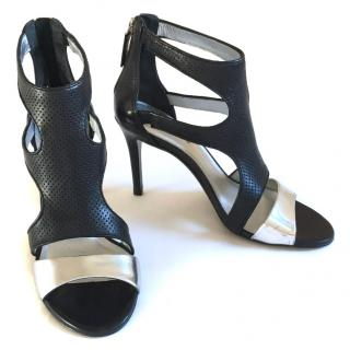 Sandro black and silver leather sandals with zip