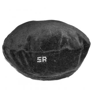Sonia Rykiel Black Beret Hat with Rhinestones