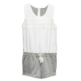 Chloe Girl's Grey and White Playsuit