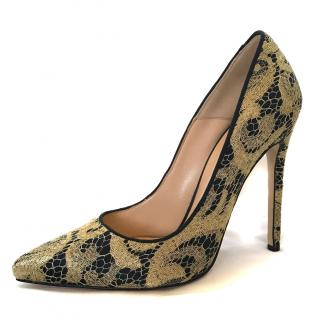 Bionda Castana Gold Lace Pumps