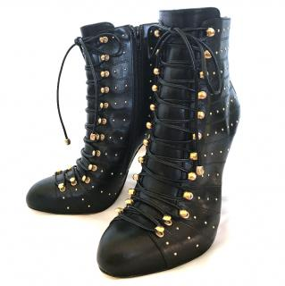 Bionda Castana - Black Calves Leather Ankle boots with Gold Detail