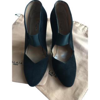 Alaia Black Suede Block Heels
