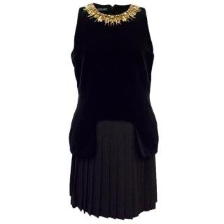 Alexander McQueen Velvet and Wool Black Dress with Embellishment