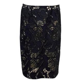 Marni Navy Blue Crochet Lace Skirt