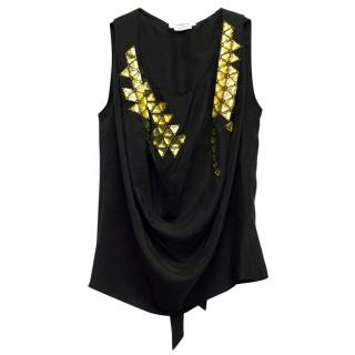 Givenchy Black Blouse with Yellow Embellishments