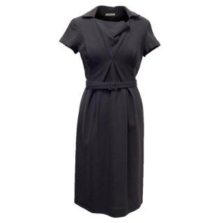 Bottega Veneta Charcoal Grey Belted Dress