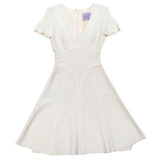 Herve Leger White Ribbed Low Cut Skater Dress