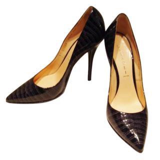 Casadei black patent crocodile print blade shoe