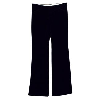 Theory Black Velvet Straight Leg Trousers