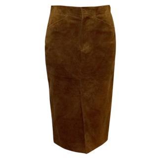Ralph Lauren Brown Suede Pencil Skirt