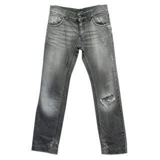 Dolce & Gabbana Mens Grey Distressed Jeans