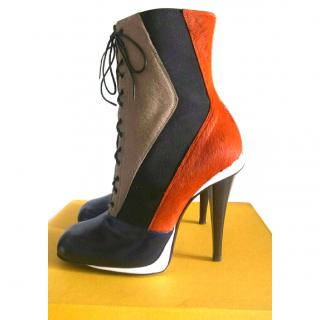 FENDI Calf Hair and Laced Ankle Boots