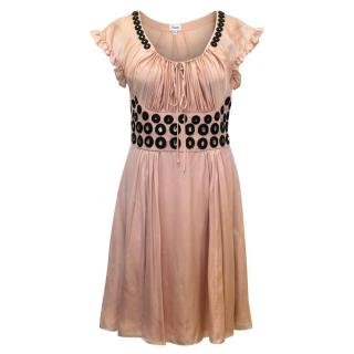 Temperley Dusty Pink Silk Dress with Silver Embellishments
